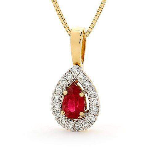 18ct Yellow Gold with Rhodium Diamond Ruby Pendant Only - MM6H24-18DR-Ogham Jewellery