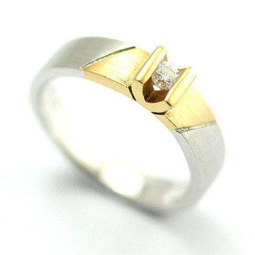 18ct Yellow & White Gold 0.09ct Diamond Ring-Ogham Jewellery