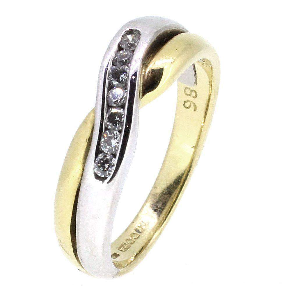 18ct Yellow & White Gold Crossover Diamond Ring-Ogham Jewellery
