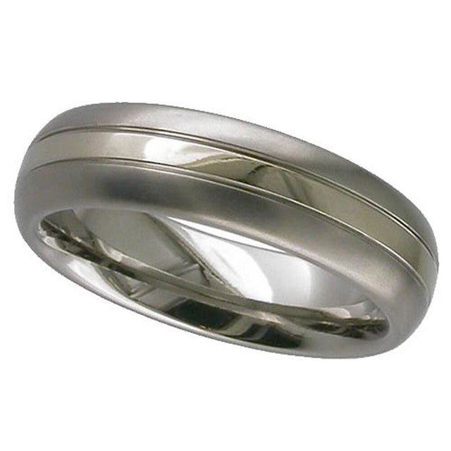 Titanium Ring With 18ct White Gold Grooved Inlay - 2210G-18kwg
