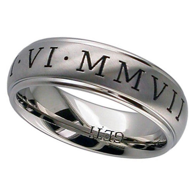 Titanium Wedding Ring With Roman Numerals - 2205RN