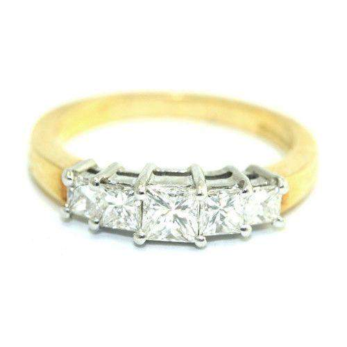 1ct Five Stone, 18ct Gold Princess Cut Diamond Engagement Ring - 10D00041-Ogham Jewellery