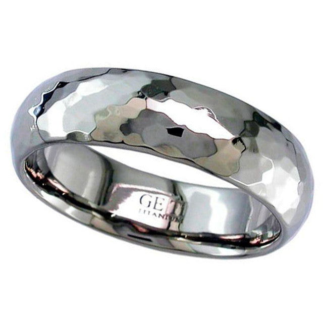 Titanium Ring With Hammered Effect - 2228