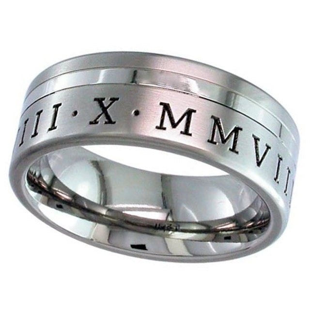 Titanium Ring With Roman Numerals 2208GPRN