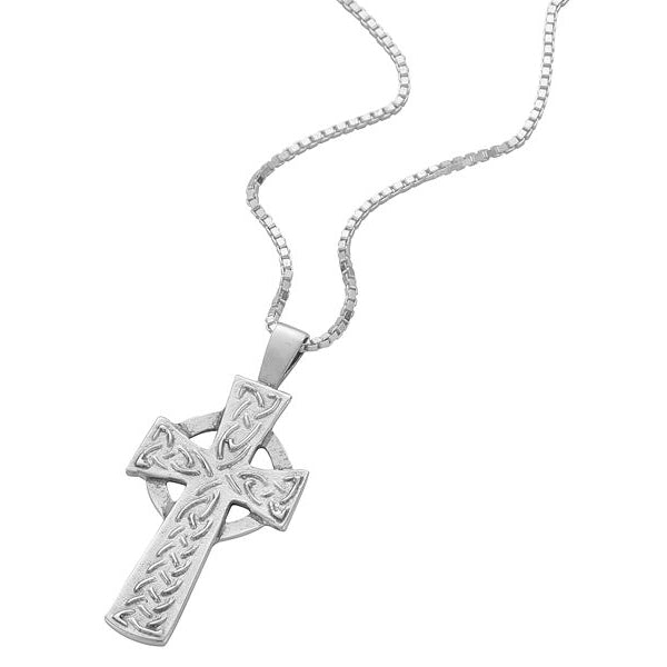 Sterling Silver Cross Pendant With Raised Celtic Knotwork Design - NO299