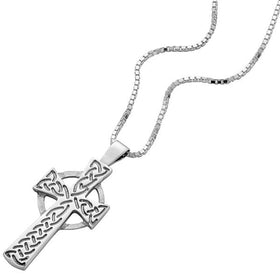 Sterling Silver Cross Pendant With Engraved Celtic Knotwork Design - NO301