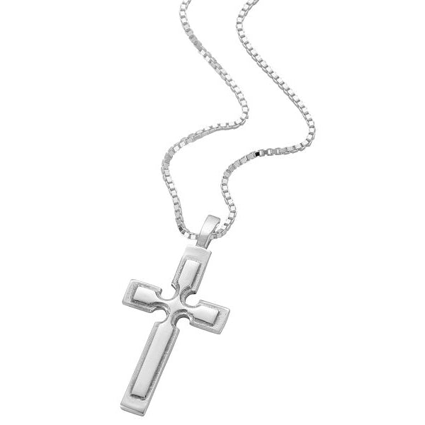 Sterling Silver Cross Pendant With Raised Cross Detail - NO308