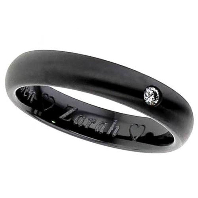Zirconium & Diamond Ring - 4004bds-3pnt