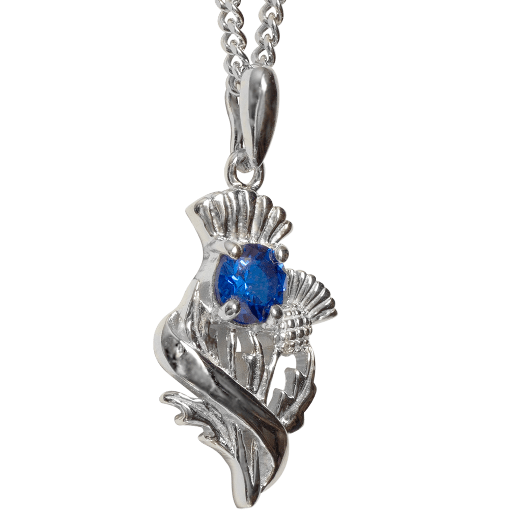 Sterling Silver Scottish Thistle Pendant with Sapphire Coloured Stone - 55530