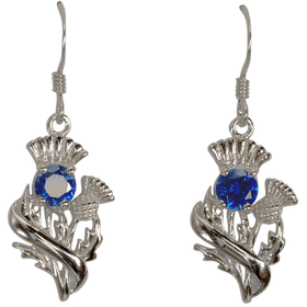 Sterling Silver Scottish Thistle Earrings with Sapphire Coloured Stones - 55535