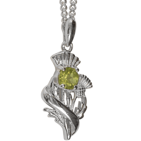 Sterling Silver Scottish Thistle Pendant with Peridot  - 55540