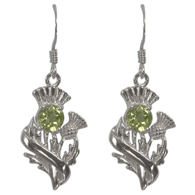Sterling Silver Scottish Thistle Earrings with Peridot - 55545