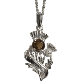 Sterling Silver Scottish Thistle Pendant with Smokey Quartz Stone - 55550