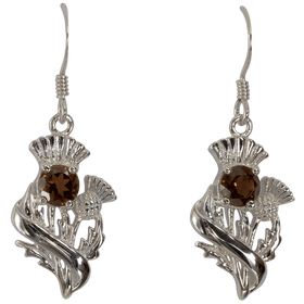 Sterling Silver Scottish Thistle Earrings with Smokey Quartz - 55555