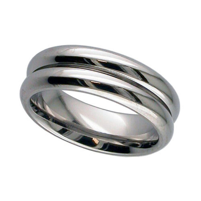 Twin Dome Titanium Ring - T123