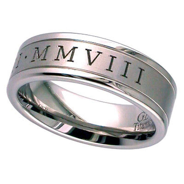 Titanium Wedding Ring With Roman Numerals - T036RN