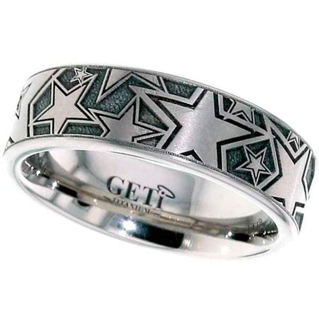 Star Titanium Wedding Ring - 2226-Stars