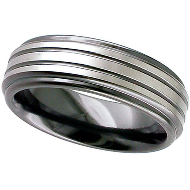 Grooved Zirconium Ring - 4002RB