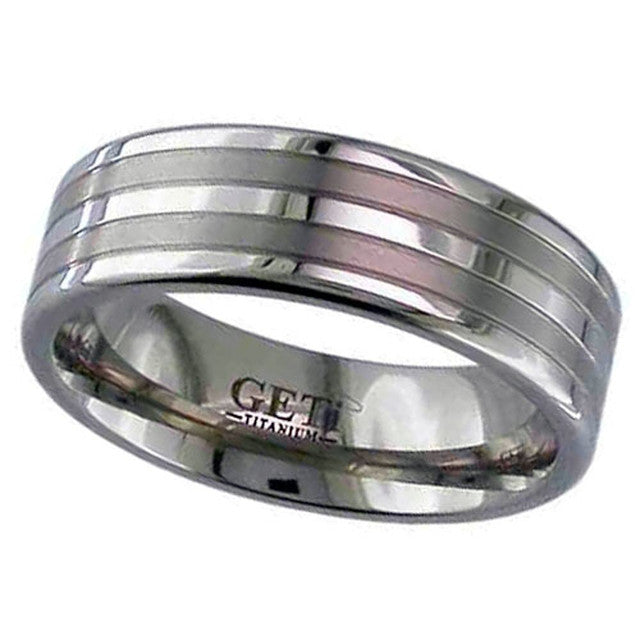 Titanium Ring With Satin Inlays - 2220GP