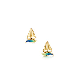 Orkney Yole 18ct Yellow Gold Stud Earrings With Enamel - EE0250