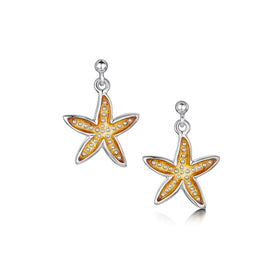 Starfish Sterling Silver with Enamel Drop Earrings - EEX251