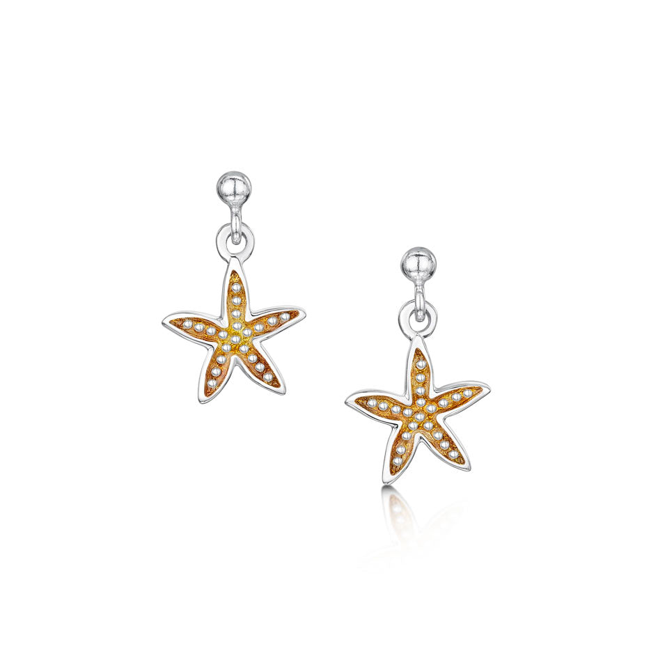 Starfish Sterling Silver with Enamel Drop Earrings - EE0251