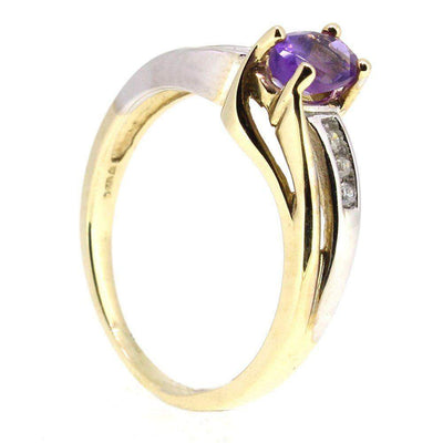 9 Carat Gold Diamond And Amethyst Ring-51T37-Ogham Jewellery