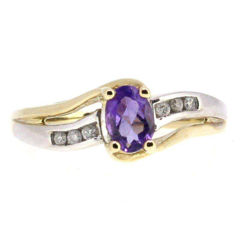 9 Carat Gold Diamond And Amethyst Ring-51T37