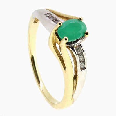 9 Carat Gold Diamond And Emerald Ring-51T37-Ogham Jewellery