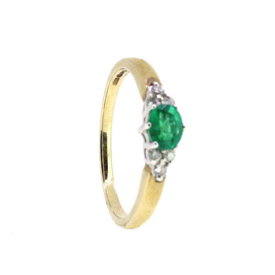 9 Carat Gold Diamond And Emerald Ring-Ogham Jewellery