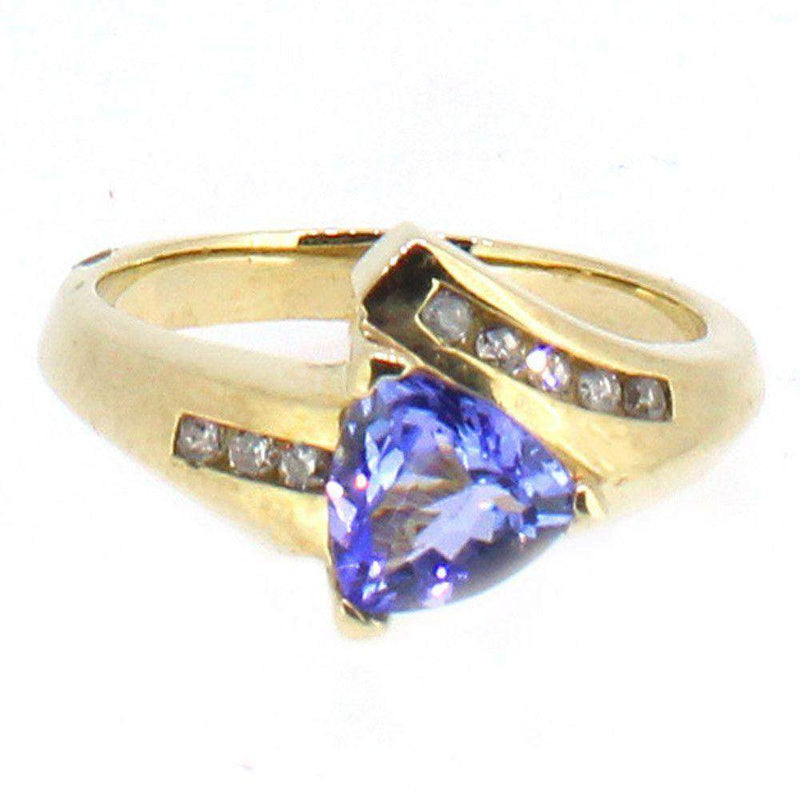9 Carat Gold Diamond And Tanzanite Ring-Ogham Jewellery