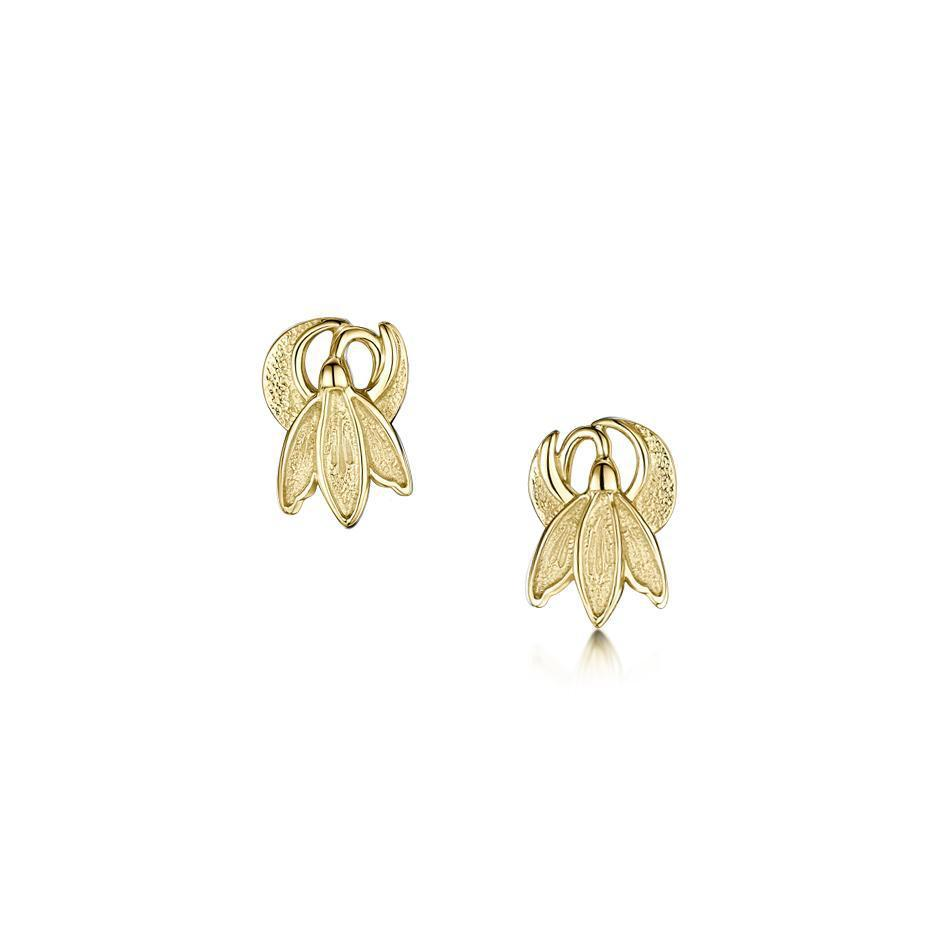 9 Carat Gold Snowdrop Earrings - E0226-Ogham Jewellery