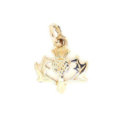 9 Carat Gold Thistle Charm GC143-Ogham Jewellery
