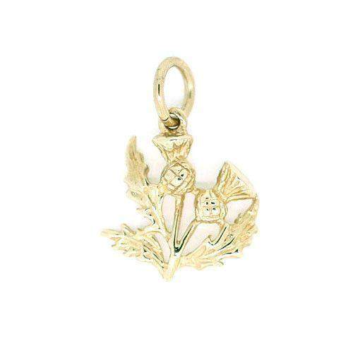 9 Carat Gold Thistle Charm GC14-Ogham Jewellery