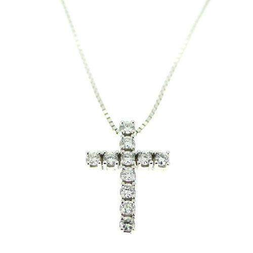 9 Carat White Gold and Diamond Cross-Ogham Jewellery
