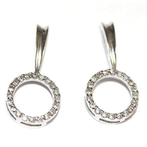 9 Carat White Gold Circle Diamond Earrings-Ogham Jewellery