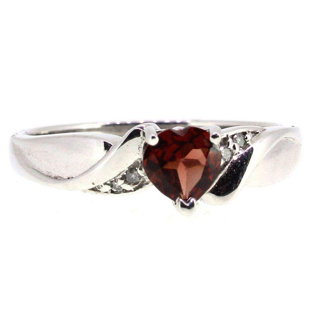 9 Carat White Gold Diamond and Garnet Dress Ring-Ogham Jewellery
