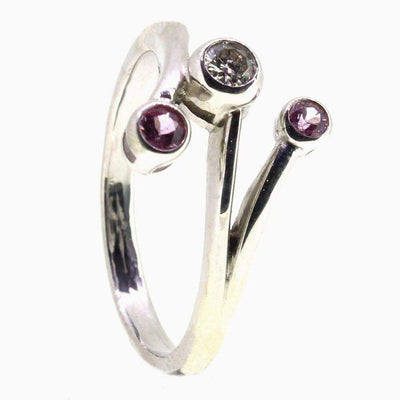 9 Carat White Gold Diamond and Pink Sapphire Dress Ring-Ogham Jewellery