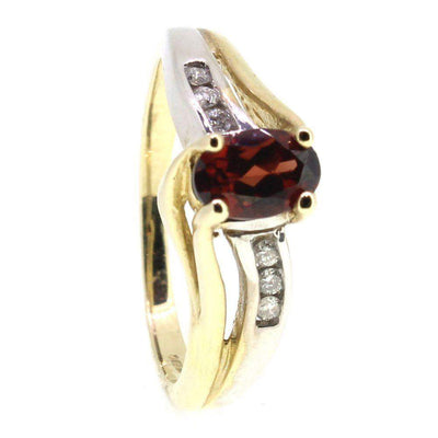 9 Carat yellow Gold Diamond and Garnet Dress Ring-Ogham Jewellery
