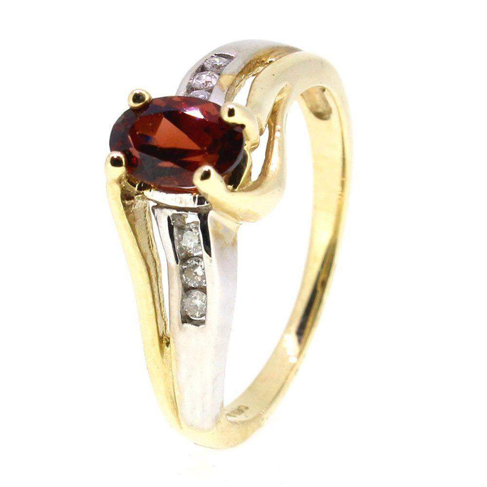 9 Carat yellow Gold Diamond and Garnet Dress Ring