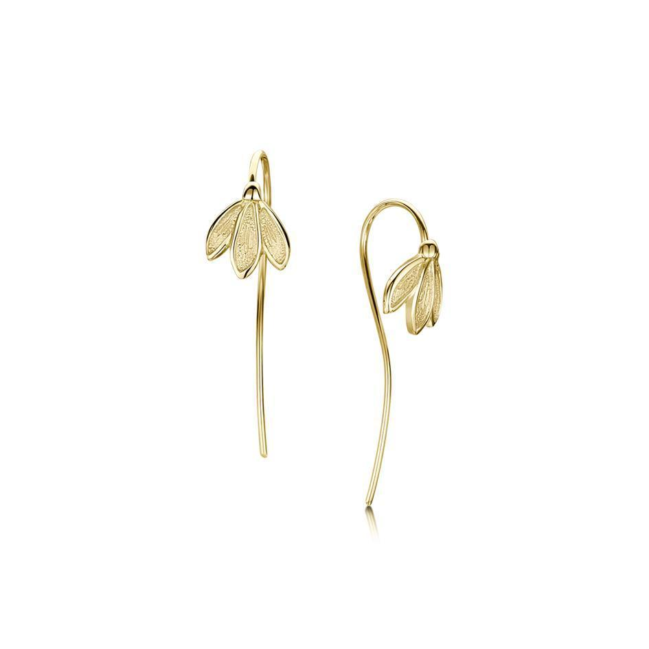9 Carat Yellow Gold Snowdrop Earrings - E226-Ogham Jewellery