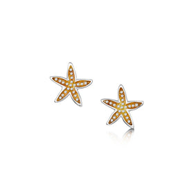 Starfish Sterling Silver with Enamel Stud Earrings - EE00251