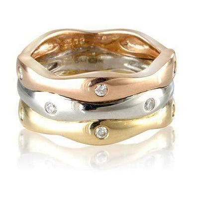 9ct 3 Colour Gold Ring with Diamonds - MM1S72D-Ogham Jewellery