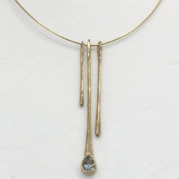 9ct Gold And Aquamarine Necklet - GCP237-Ogham Jewellery