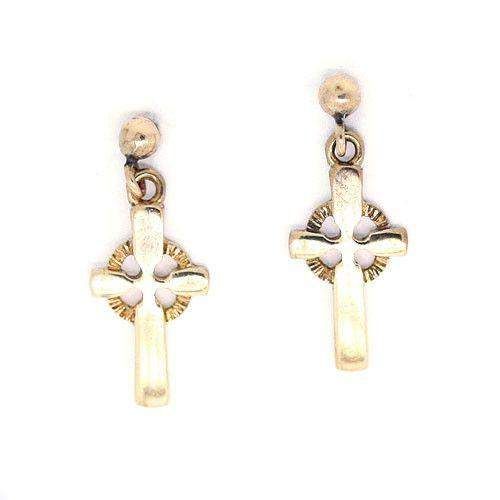 9ct Gold Cross Earrings -GE71-Ogham Jewellery