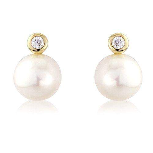 9ct Gold Diamond and Pearl Earrings - MM8F75DCP-Ogham Jewellery