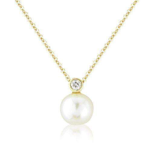 9ct Gold Diamond and Pearl Necklet - MM2V08DCP-Ogham Jewellery