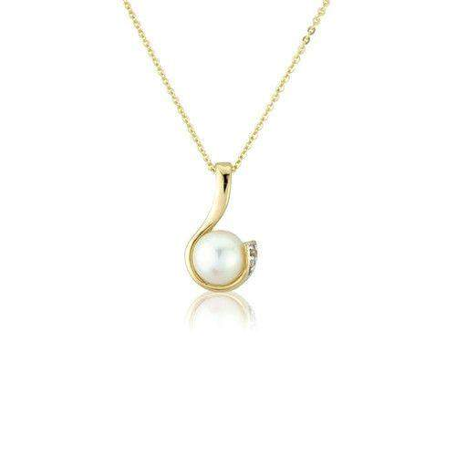 9ct Gold Diamond and Pearl Necklet - MMCH038-6YDCP-Ogham Jewellery