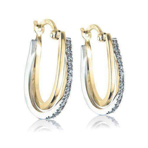9ct Gold & Diamond Hoop Earrings -White, Yellow or Rose Gold - MM7W48-Ogham Jewellery