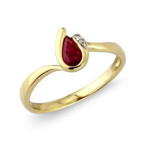 9ct Gold Diamond Ruby Dress Ring - MMCH038-1YDRU-Ogham Jewellery